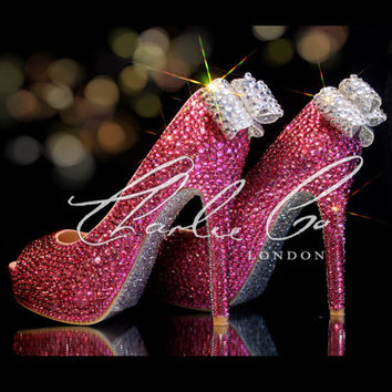 CHARLIE CO. Pretty In Pink Crystal Strass Clear Bow Peep Toe Platform Heels  Hot Pink ada53b8b6a