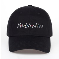 Trendy Winter Jacket High Quality new arrival MELANIN letter embroidery baseball cap women snapback hat adjustable men fashion Dad hats  AT_92_12