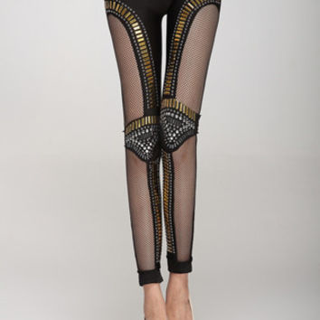 Black Rhinestone Cut Out Narrow Feet Skinny Leggings