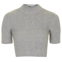 Funnel Neck Ribbed Crop Tee - Grey Marl