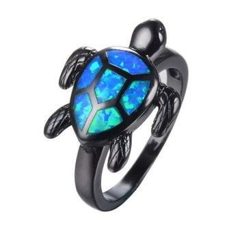 Black Gold Women Men Sea Turtle Cute Animal Blue Opal Rings
