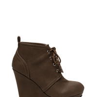 Lace-Up Talk Wedge Booties