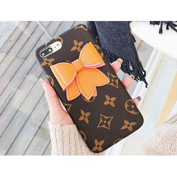 GUCCI 2018 new bow female iPhonex leather case 6plus shatter-resistant soft shell F-OF-SJK Coffee