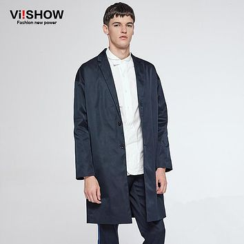 VIISHOW Men's Thin Casual Trench Coat Long Style Navy Solid Turn-Down Collar Hip Hop Sweat Coat Jacket for Men  FC13563