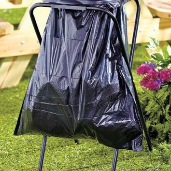 Portable Single Trash Bag Holder With Lid For Camping Back Yard Picnics Parties