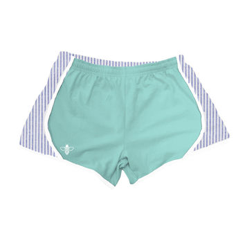 Mint Jersey with Navy Seersucker Shorts by Lily Grace - FINAL SALE