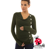 Cow Neck Relaxed Maternity top with Button trail accents