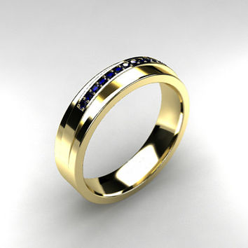 Blue sapphire ring, yellow gold, men's wedding band, commitment ring, men sapphire ring, gold band, mens ring, man yellow gold , modern