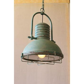 Antique Turquoise Pendant Light With Glass & Wire Cage