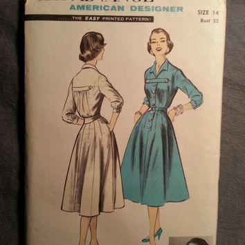Uncut 1950's Advance Sewing Pattern, 7931! Designer Fashions by Eddie George/Long Cuffed Sleeves/Flared Dress/Button Up Collared Dress