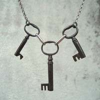 Antique Skeleton Key Necklace - Old French Convent Keys - Three Key Necklace - Black And Silver