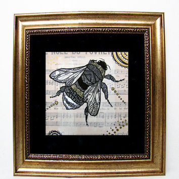 Honey Bee  Art Print Zentangle Inspired  Apis by MayhemHere