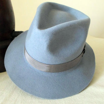 Light Sky Blue Wool Felt Fedora - Wide Brim Merino Wool Felt Handmade Fedora Hat - Women