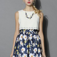Bella de Fleur Tiered Floral Dress in Blue