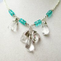 Polished Quartz Crystal Stone Drops & Teal Czech Glass Silver Necklace