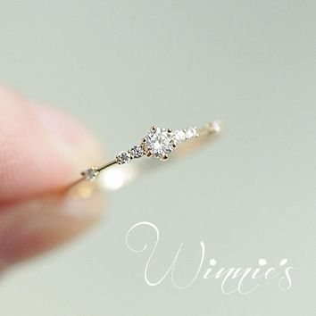 14K Gold Plated Eternity Thin CZ Band Rings Sterling Silver 925 Tiny Jewellery