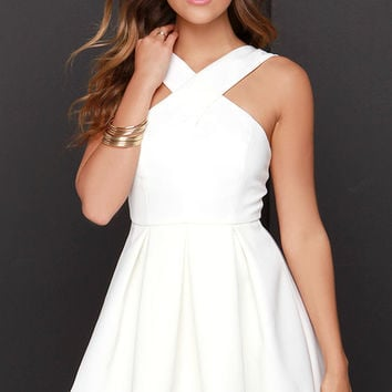 Pleats in a Pod Ivory Skater Dress