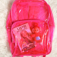 Vintage 1990s Pink Transparent See Through PVC Club Kid Raver Backpack