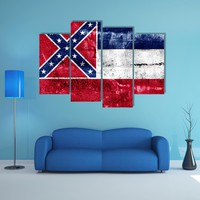 Mississippi State Flag Multi Panel Canvas Wall Art