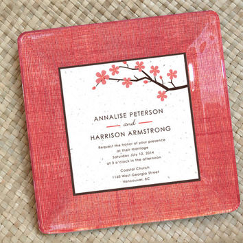 Unique Wedding Gift / Spring Wedding / Personalized / Couples / Wedding Invitation / Customized Wedding / Decoupage Plate / coral