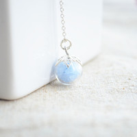 Blue Stone Luminous Glow In The Dark 925 Sterling Silver Necklace Women Love Choker Vintage Boho Jewelry Charms Cute Accessories