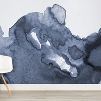 Deep Blue Waves Watercolor Wall Mural - Murals Wallpaper