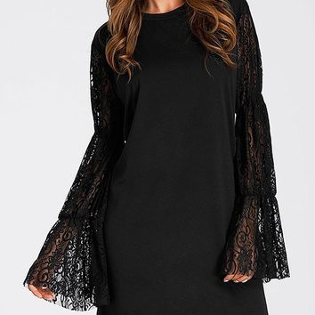 Lace Panel Mini Straight Dress