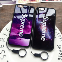 Supreme Starry sky Mirror Phone Case For iPhone 7/7Plus 6 /6S/6Plus (1 mobile phone shell +2 Lanyard)