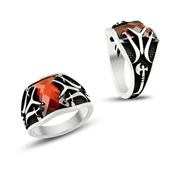 Sword ax with red zirconia stone sterling silver ring