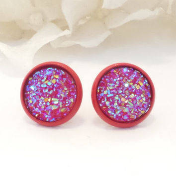 DRUZY EARRINGS, red ab, red setting, post earring, stud earring, 12mm, fashion forward, unique, sparkle studs, modern