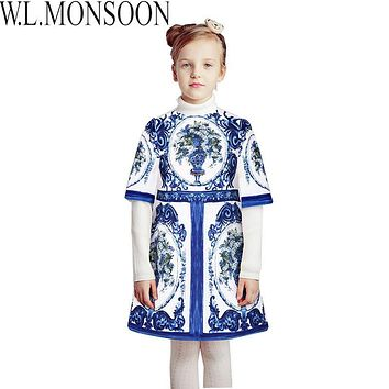 W.L.MONSOON Princess Dress Christmas Clothes 2017 Brand Toddler Girls Dresses Kids Clothing Floral Print Children Winter Dress