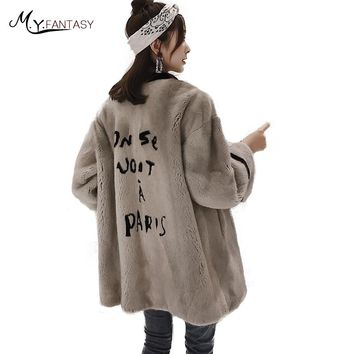 M.Y.FANSTY2017 Import Winter Women's Long Sleeve Mink Coat Real Fur Coat O-Neck Letter Lines Pattern Medium Loss Mink Fur Coats
