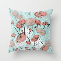 Poppy  Throw Pillow by Renee Ciufo