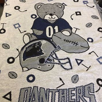 NWT VINTAGE CAROLINA PANTHERS BABY TRIPLE WOVEN JACQUARD BLANKET WITH BEAR