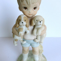 Boy with Puppies Statue Figurine Lefton