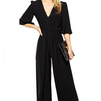 V Neck Jumpsuit with Wide Leg