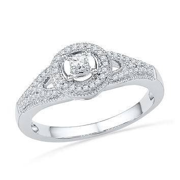 10kt White Gold Womens Round Diamond Encircled Solitaire Milgrain Promise Bridal Ring 1/4 Cttw 100699