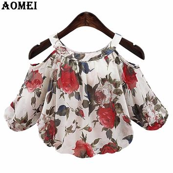 Summer Print Red Floral Blouse for Women Lolita Fashion Office Lady Tops Shirts Black Beige Color Women Clothing