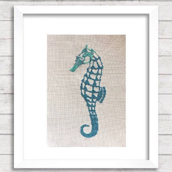 Completed cross stitch, Beach wall decor, seahorse design, large modern cross stitch, colorful hand stitched art, finished, bathroom art