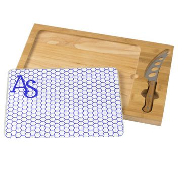 Blue pattern. Hexagonal grid. Monogram. Cheese Board