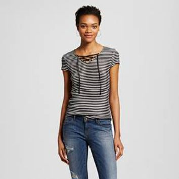 Women's Lace Up Rib Tee - Mossimo Supply Co.™ (Juniors') : Target