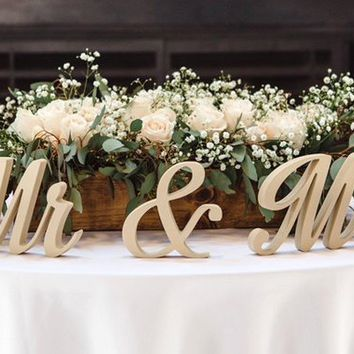 Sweetheart Table Decor - Mr and Mrs sign - Wooden Wedding Signs - Free Standing Letters - Top Table Sign - Wedding Centerpiece - Gold Silver