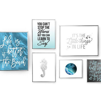 SET of 6 Prints, Life Is Better At The Beach, Home Decor, Nautical Wall Decor, Surfer Set, Bedroom Decor, Gold Foil Print, Sea Horse Poster