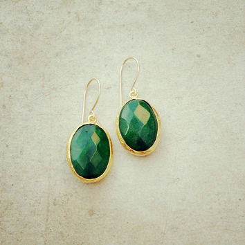 everyday earrings fashion Jewelry  emerald forest  jade green stones  gold   bold simple gemstone earrings israel