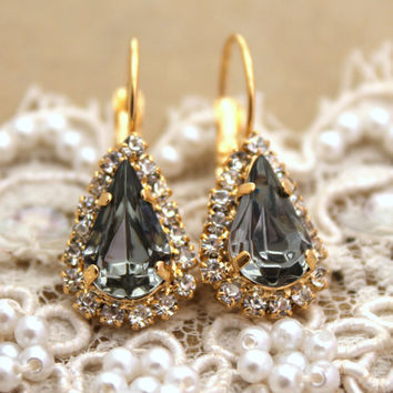 Smoky grey black diamond Crystal teardrop hook earring - 14 k plated gold post earrings real Swarovski rhinestones .