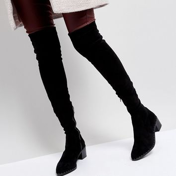 Sol Sana Bianca Black Studded Over The Knee Boots at asos.com
