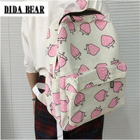 DIDA BEAR Women Canvas Backpacks Fruit Strawberry Printing Large School bags For Girls Bag Rucksack Bolsas Mochilas Femininas
