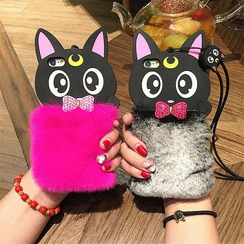 For iPhone 5 6 6S 7 8 Plus X Luxury Fashion Cute Plush Cartoon Cat Phone case Rhinestone bow Rabbit Fur lanyard soft shell