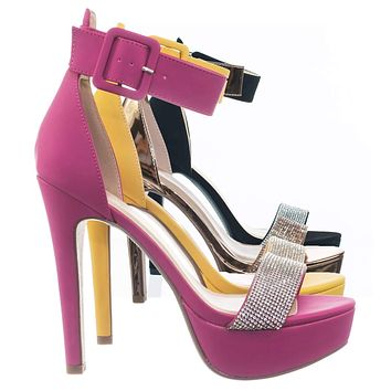 Notice Rhinestone Encrusted Platform High Heel Sandal w Thick Ankle Strap