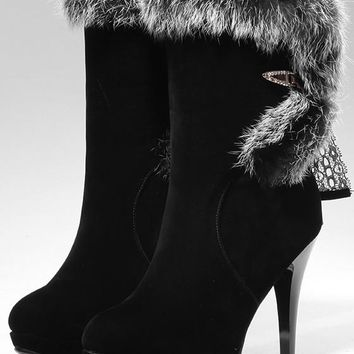 New Women Black Round Toe Stiletto Fur Fashion Mid-Calf Boots